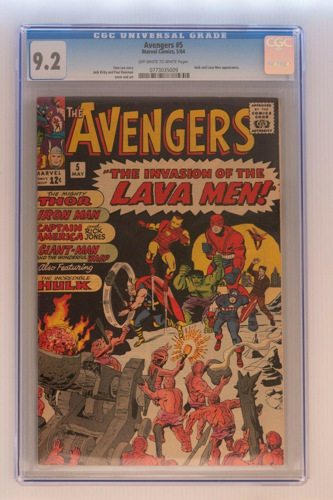 Avengers Issue 5  92 CGC Grade