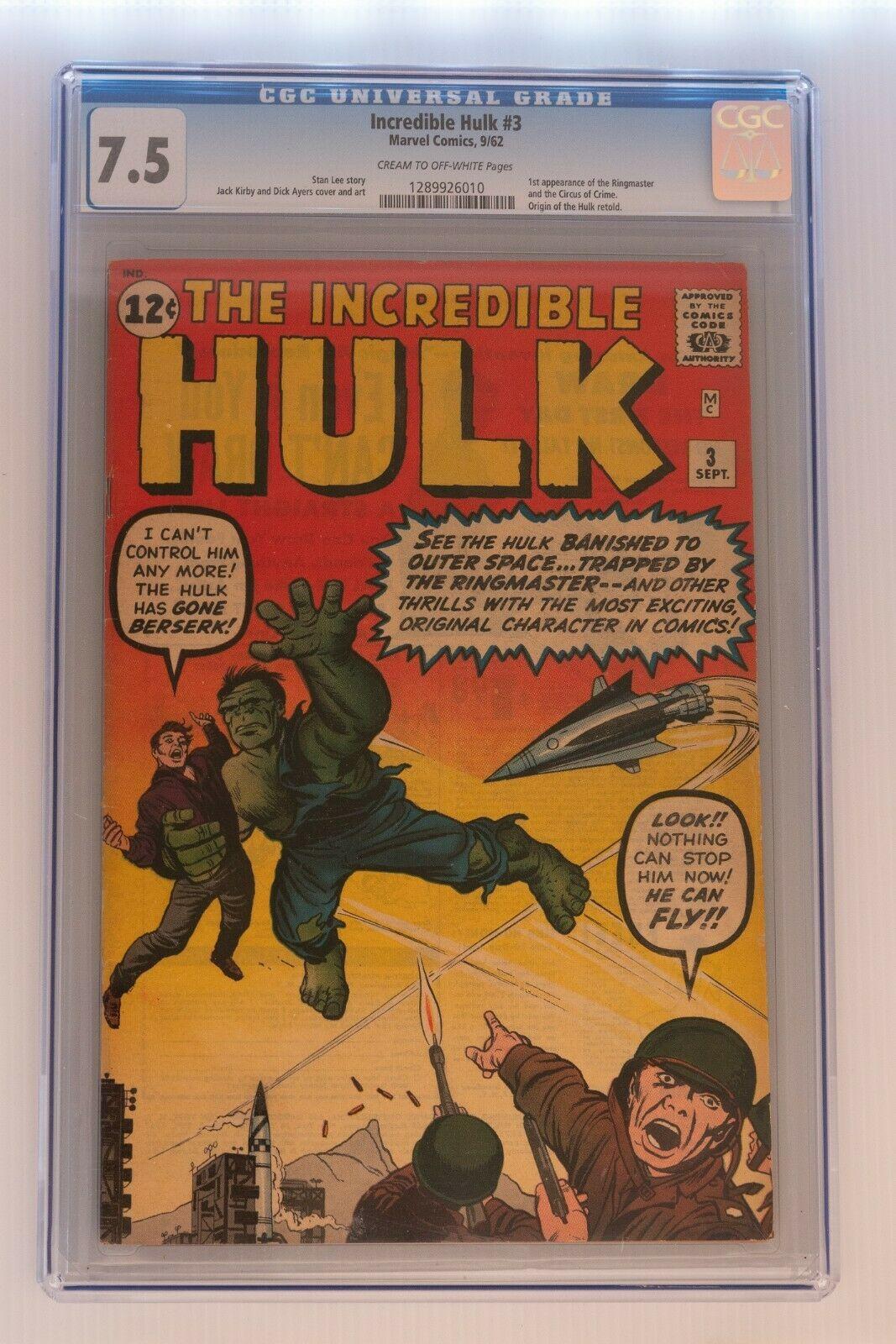 The Incredible Hulk Issue 3  75 CGC Grade
