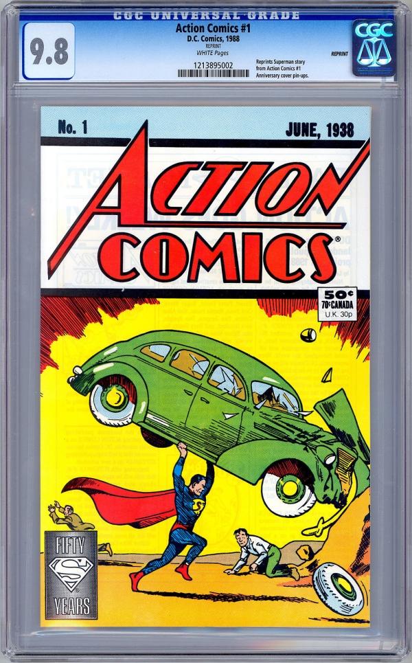 ACTION COMICS 1  CGC 98 NM  WP  50TH ANNIVERSARY REPRINT  19381988