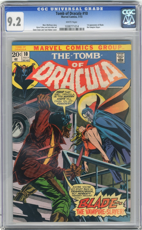1973 Tomb of Dracula 10 CGC 92 1st Blade White Pages