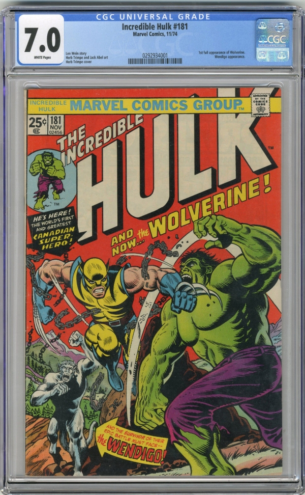 1974 Incredible Hulk 181 CGC 70 1st Wolverine White Pages