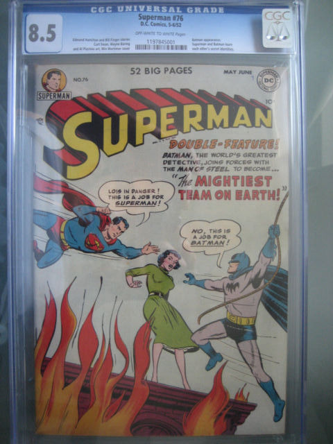 Superman 76 CGC 85 OWW 1st Superman  Batman TeamUp DC Comics 1952