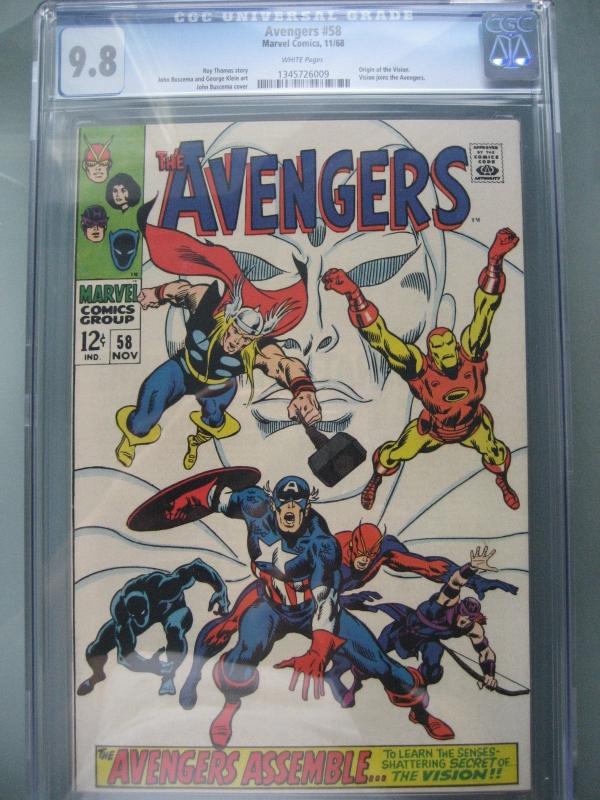 Avengers 58 CGC 98 WP Origin Vision Marvel Comics 1968
