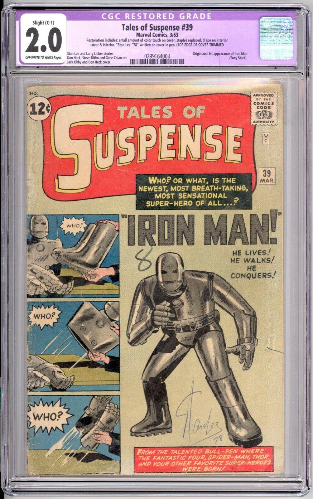 Tales of Suspense 39 CGC 20 C1 Restored 1st Iron Man