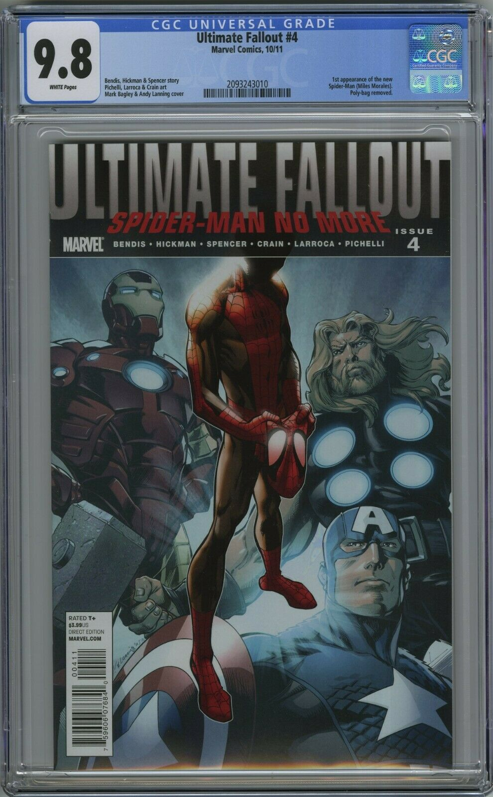 ULTIMATE FALLOUT 4 CGC 98 FIRST MILES MORALES FIRST PRINT 2011
