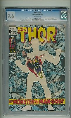 Thor 169 CGC 96 OW pages Origin Galactus concludes Kirby 1969 c08381