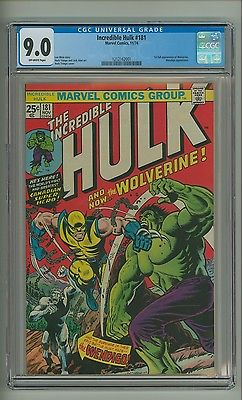 Incredible Hulk 181 CGC 90 OW pages 1st full app Wolverine 1974 c09483