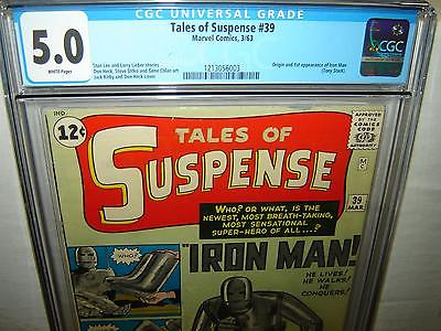 Tales of Suspense 39 CGC 50 White p Origin  1st IRON MAN 1963 r00038