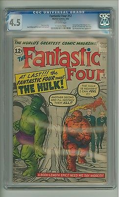 Fantastic Four 12 CGC 45 OW pages FF vs Hulk 1st meeting Kirby c09468