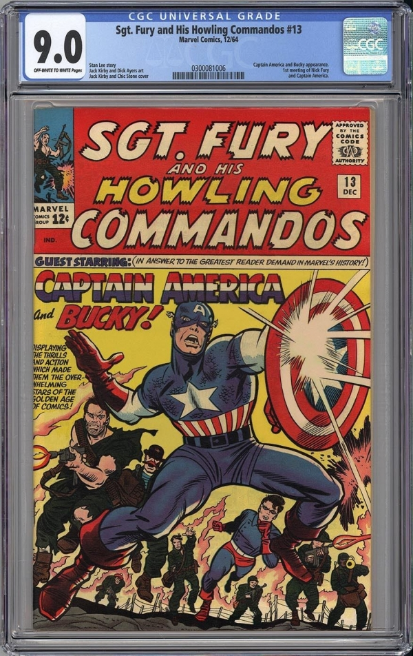 SGT FURY 13 CGC VFNM 90  CLASSIC JACK KIRBY CAPTAIN AMERICA 1964  Looks NM