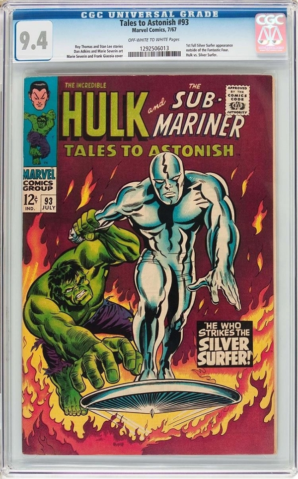 TALES TO ASTONISH 93  CGC NM 94  CLASSIC SILVER SURFER and HULK COVER  1967