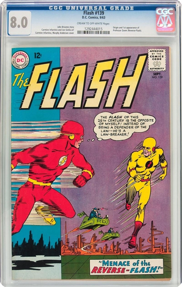 FLASH 139 CGC VF 80  ORIGIN And 1st APPEARANCE OF REVERSE FLASH ZOOM  1963
