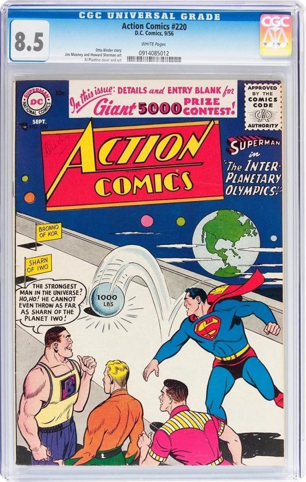 ACTION COMICS 220  CGC VF 85  FANTASTIC SUPERMAN COVER  VERY SCARCE 1956