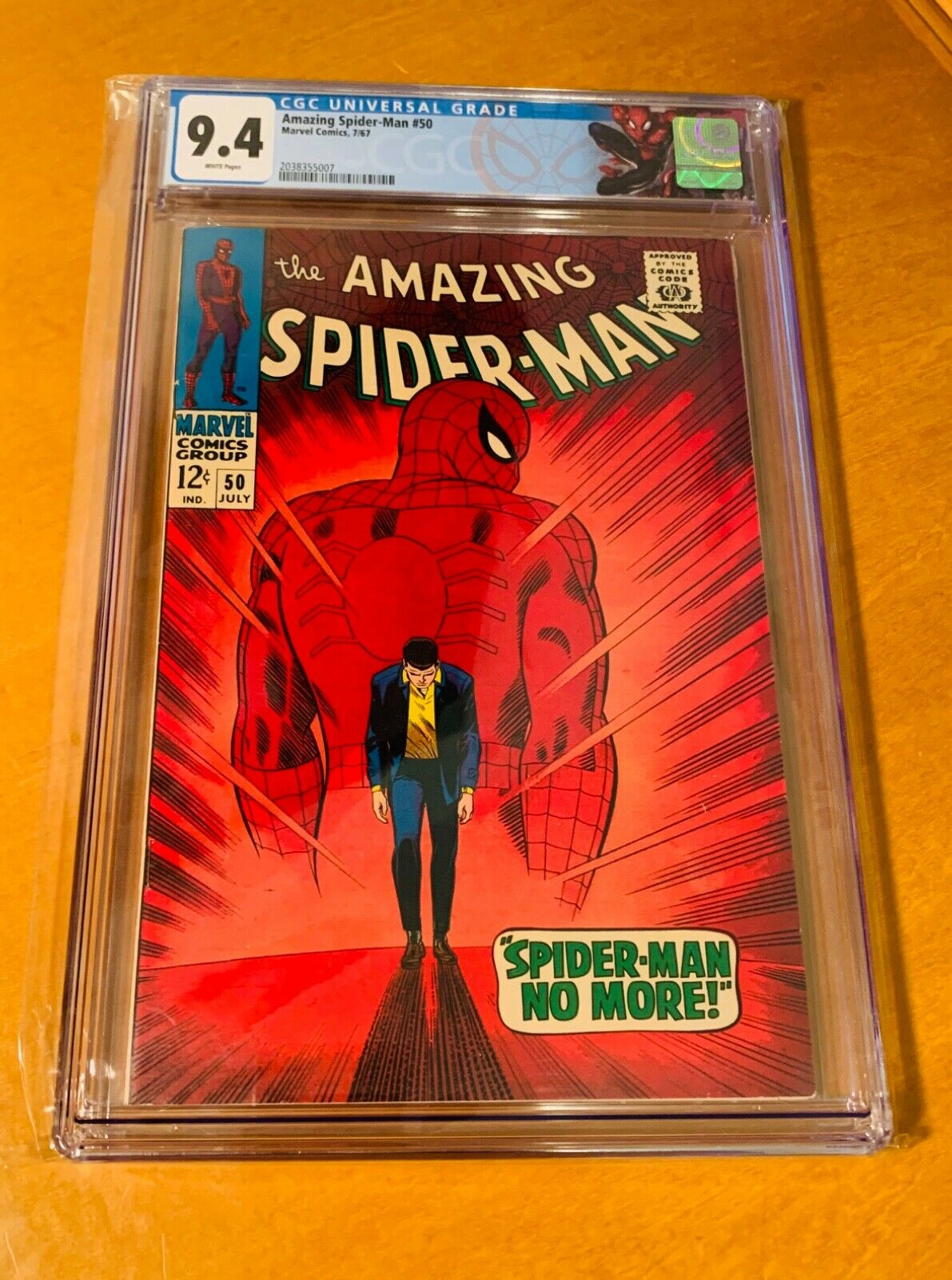 Amazing SpiderMan 50 CGC 94 White Pages  Custom Label
