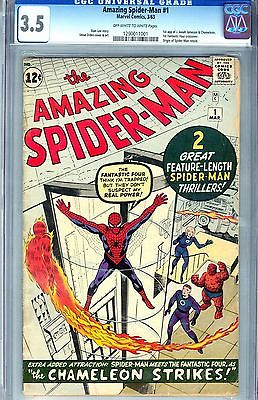 CGC AMAZING SPIDERMAN 1CGC 35 VG 1963 UNIVERSAL OFFWWHITE PAGES
