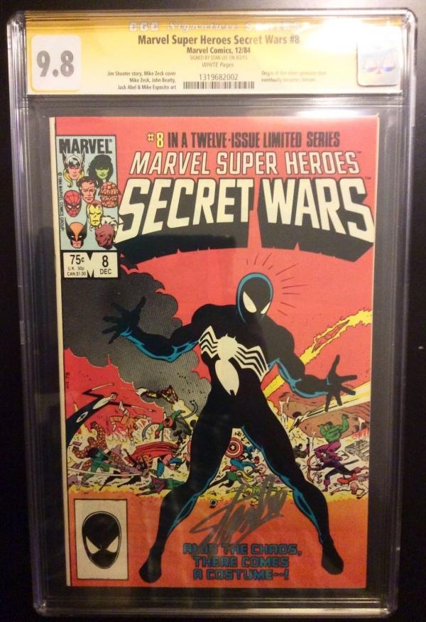Marvel super heroes secret wars  8 cgc 98 ss Stan Lee Sig Spiderman 1st black