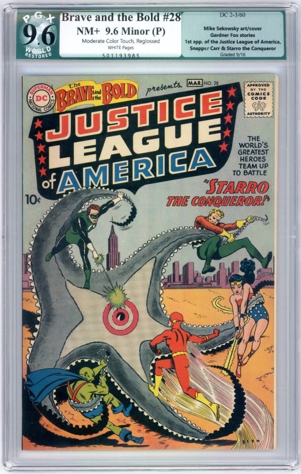 Brave and the Bold 28 PGX 96 WHITE Slight Justice League Crossover CBCS CGC