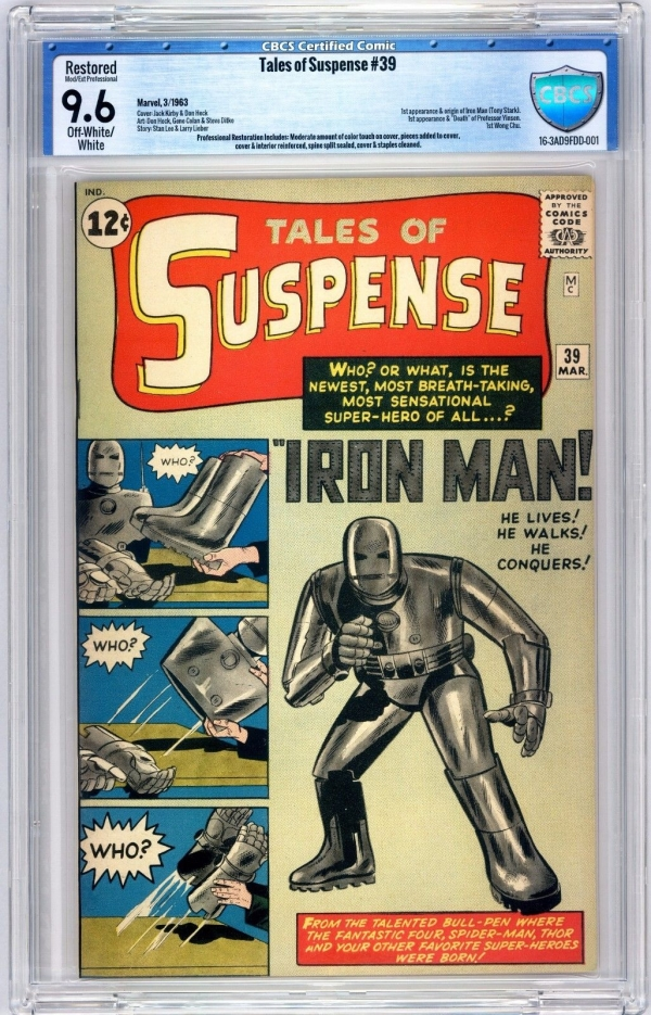 Tales of Suspense 39 CBCS 96 OWW MP 1st Iron Man 1963 Not CGC PGX Stunning