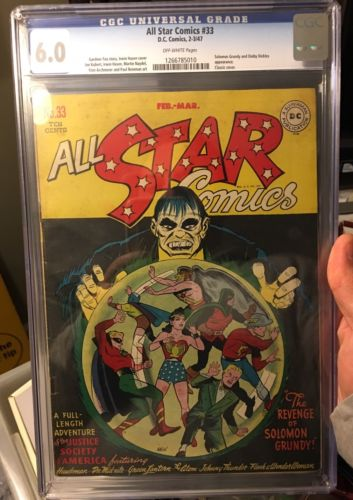 ALL STAR COMICS  33 CGC 60 SOLOMON GRUNDY CLASSIC COVER GOLDEN AGE COMIC BOOK