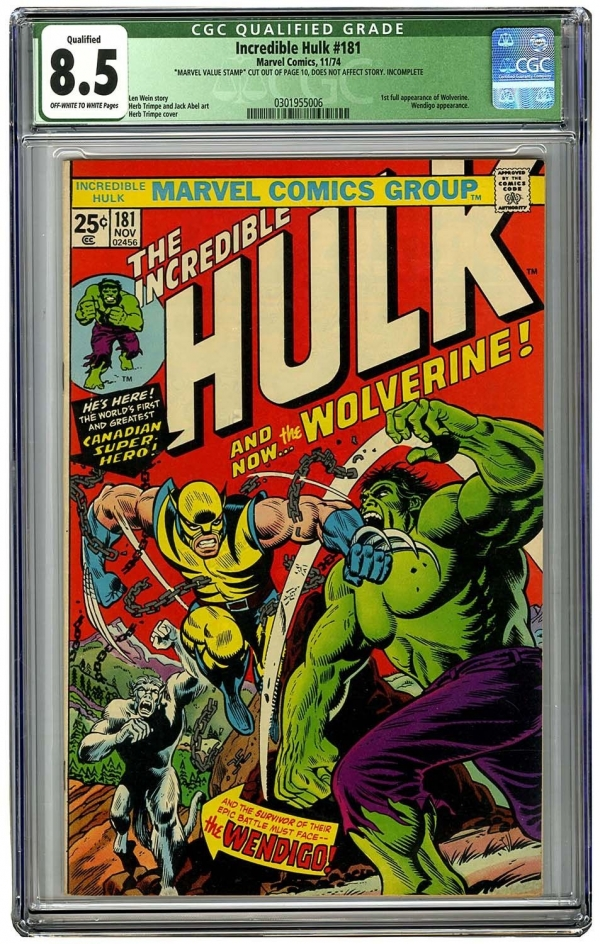 Incredible Hulk 181 Vol 1 CGC 85 Unrestored Very High Grade 1st App Wolverine