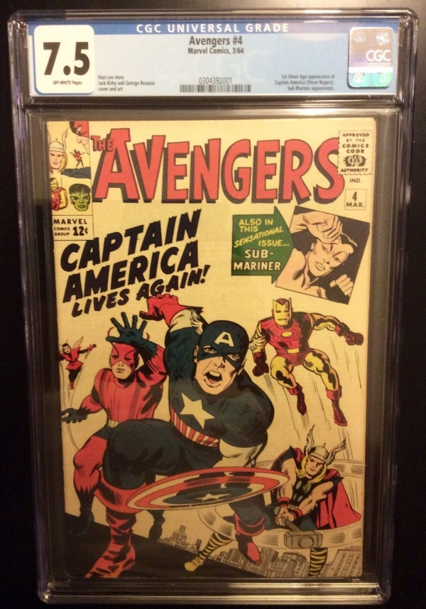 Avengers  4 cgc 75  1 st Captain America in Silver Age Stan Lee  thor iron