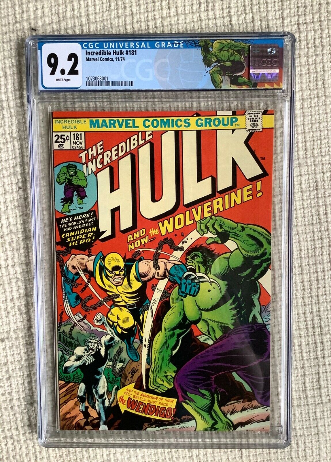 Incredible Hulk 181 cgc 92 1 st WOLVERINE HULK Battle cover Stan Lee Herb 2