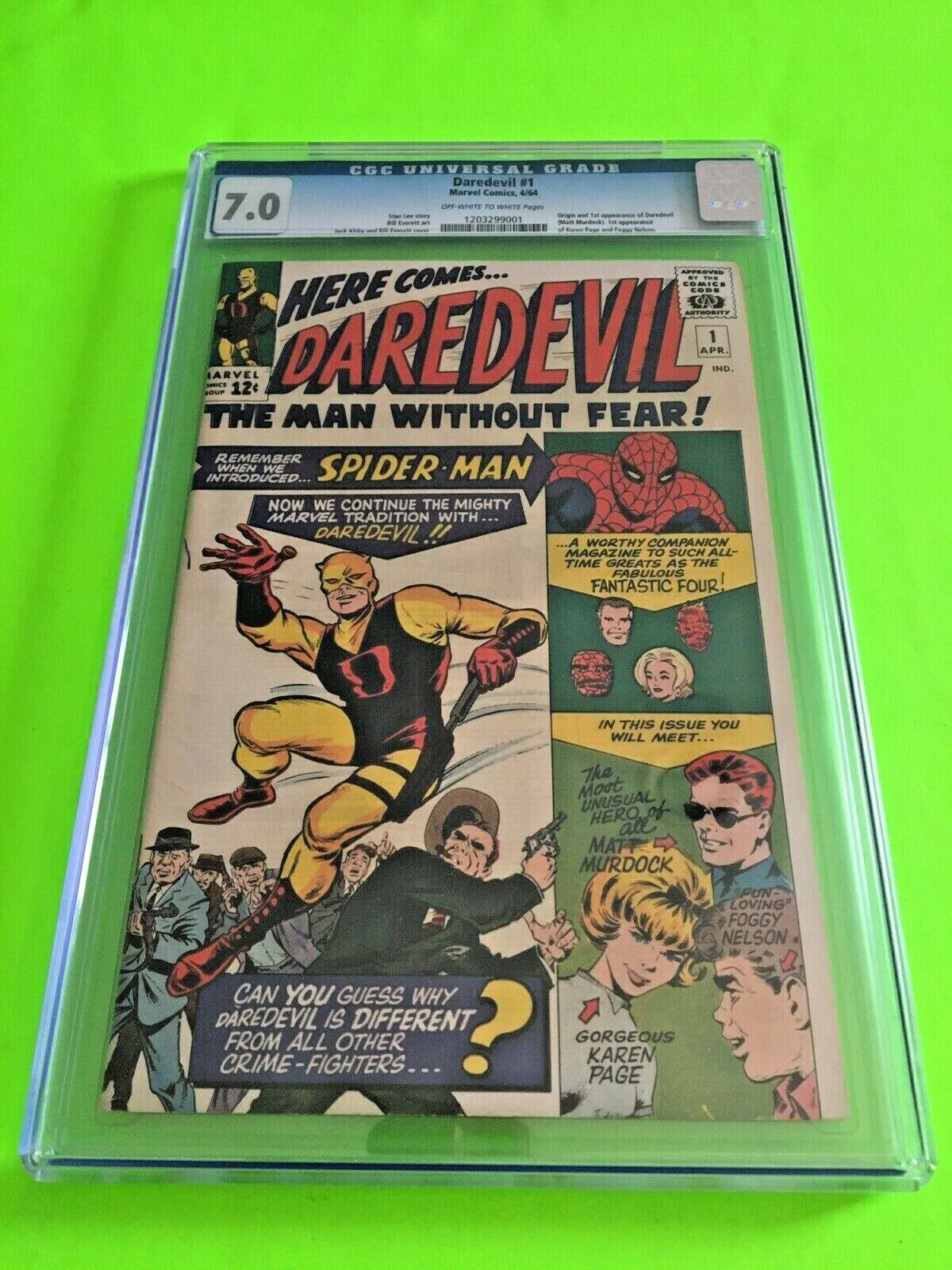 Marvel Comics Daredevil 1 1964 CGC 70 First Appearance Daredevil Key Issue