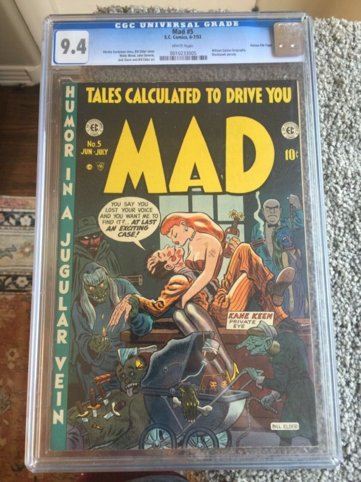 RARE 1953 EC GOLDEN AGE MAD 5 CGC 94 UNIVERSAL GAINES FILE COPY WHITE PAGES