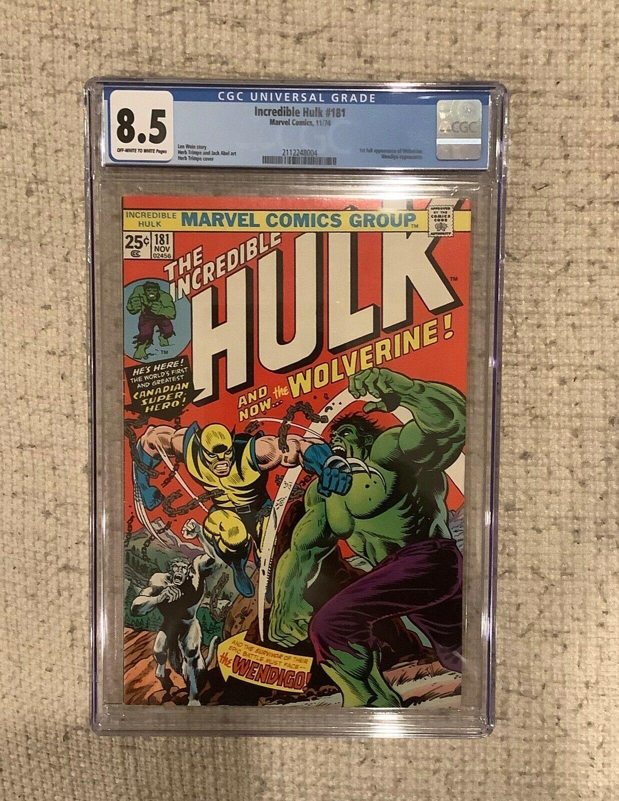 Incredible Hulk 181 cgc 85 1 st WOLVERINE HULK Battle cover Stan Lee Herb 2