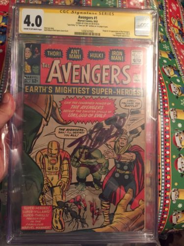 Avengers 1 1963 CGC 40 3x Signed Jack Kirby Stan Lee Iron Man Thor Hulk AntMan