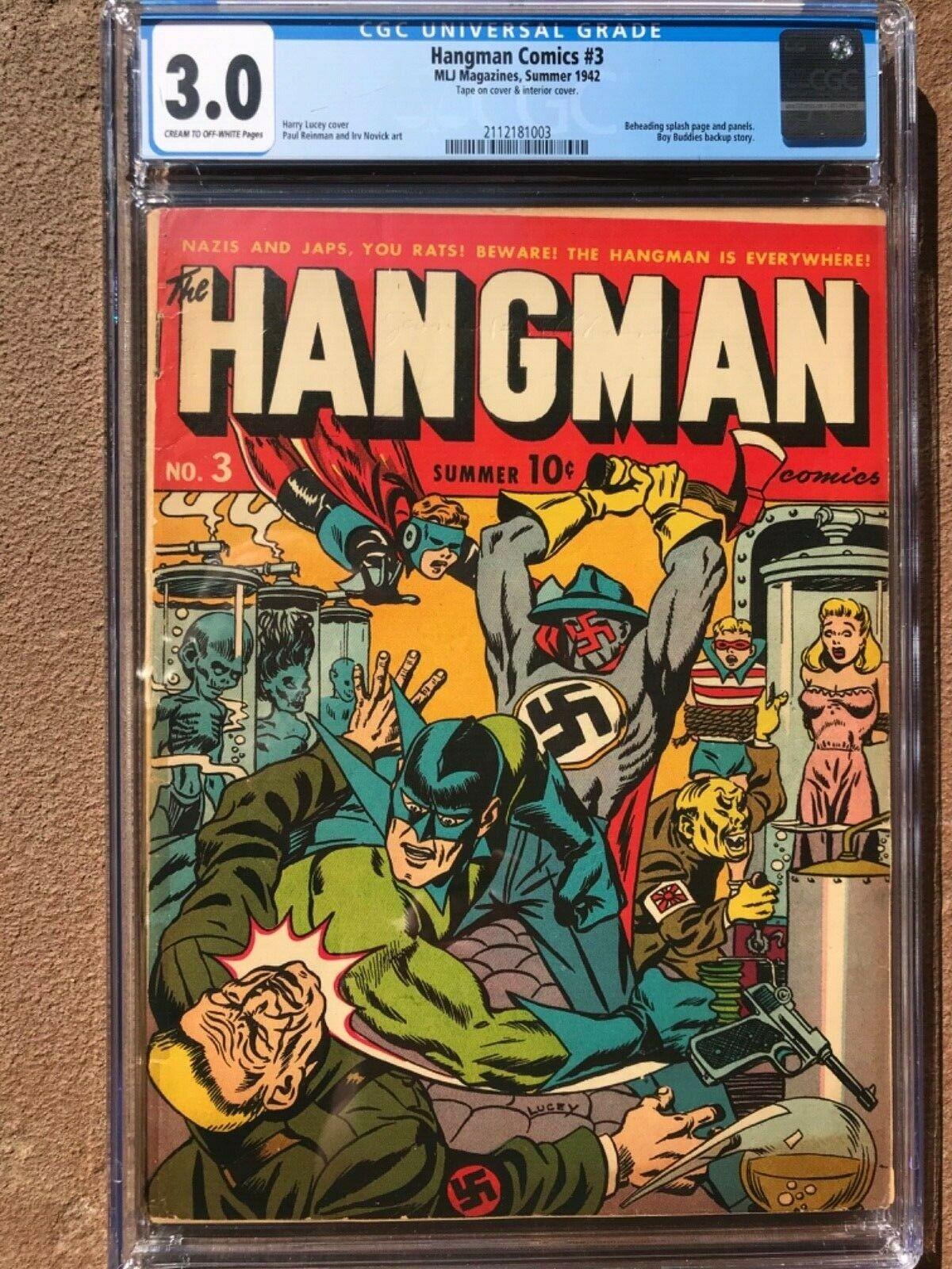 HANGMAN COMICS 3 CGC 30  NAZI COVER  BEHEADING SPLASH PAGE