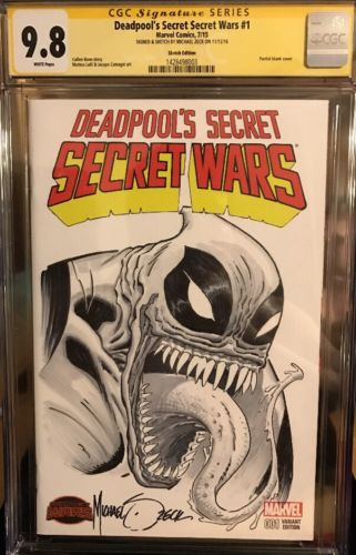 Deadpools Secret Wars 1 CGC SS 98 Signed And Sketched By Micheal Zeck
