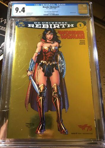 Wonder Woman 1 Rebirth DC Jim Lee Gold Foil Variant CGC 94