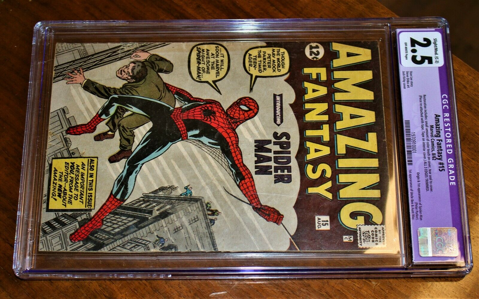 Marvel 1962 Amazing Fantasy 15 SpiderMan CGC Restored 25 edges trimmed