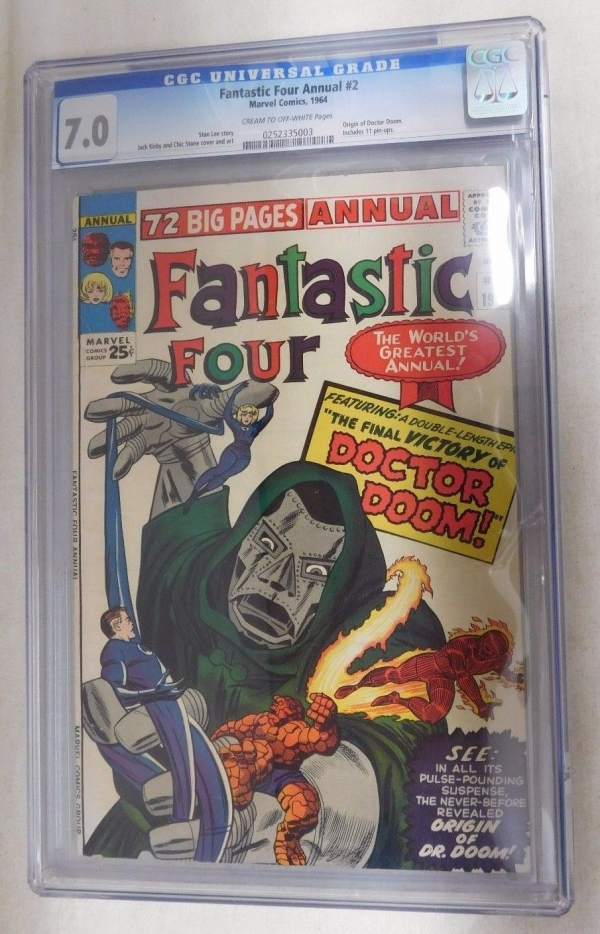 Marvel FANTASTIC FOUR ANNUAL 2 CGC Graded 70 1964 Vintage Comic