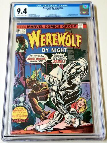 Werewolf by Night 32 CGC 94 1st Moon Knight App OWW pgs MCU 1975 NO RESERVE