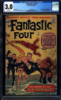 Fantastic Four 4 CGC 30 WP Key Silver Age Comic 1st Silver Age Submariner LK