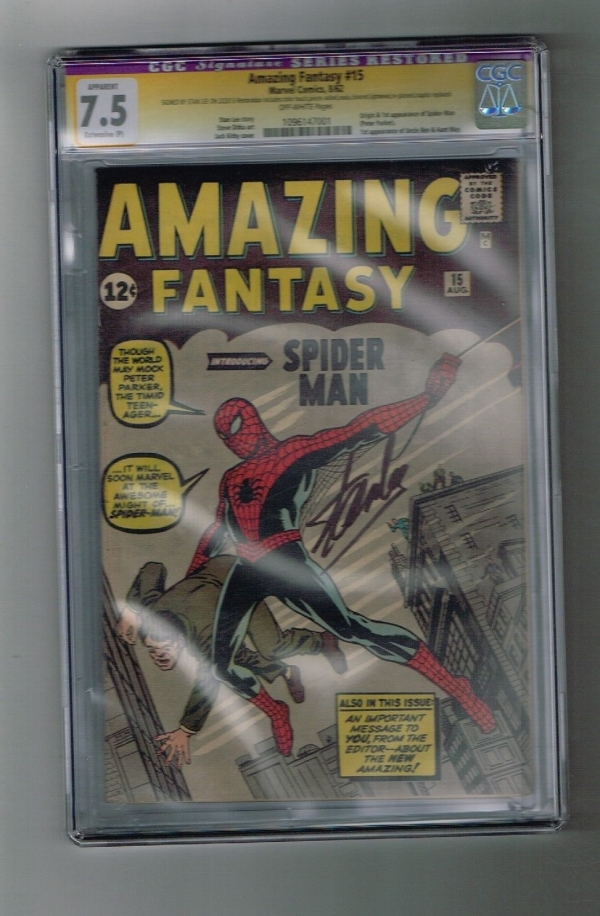 AMAZING FANTASY 15 CGC Grade 75 Major Key 1st SPIDERMAN SIGNED by STAN LEE