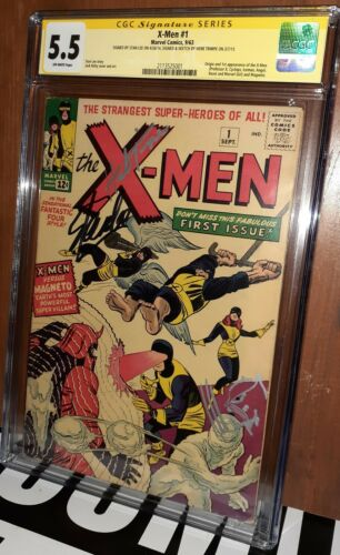 CGC 55 XMen  1 Signed ss Stan Lee and Herb Trimpe Wolverine Sketch 1st XMen