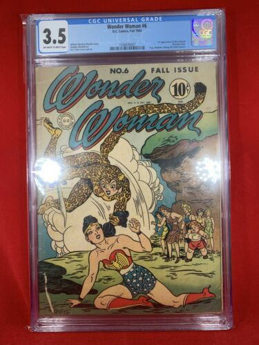 Wonder Woman 6 1943 CGC 35 1st Appearance Of Cheetah Moldoff Art Peter Cover