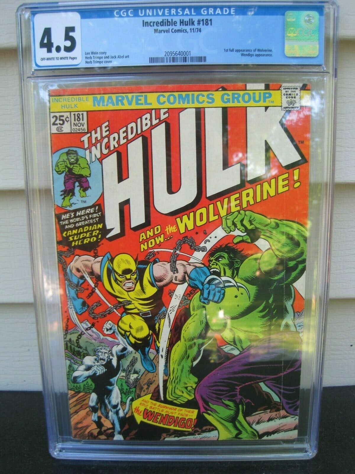 THE INCREDIBLE HULK 181 Wolverine 1st app CGC 45 Marvel 1974 Free shipping