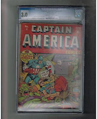 CAPTAIN AMERICA COMICS 4 CGC Grade 30 Gold Age superhero tales BONDAGE COVER