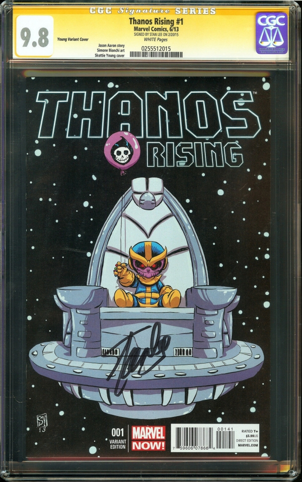 Thanos Rising 1 CGC 98 NMMT SIGNED STAN LEE Bianchi art Skottie Young Variant