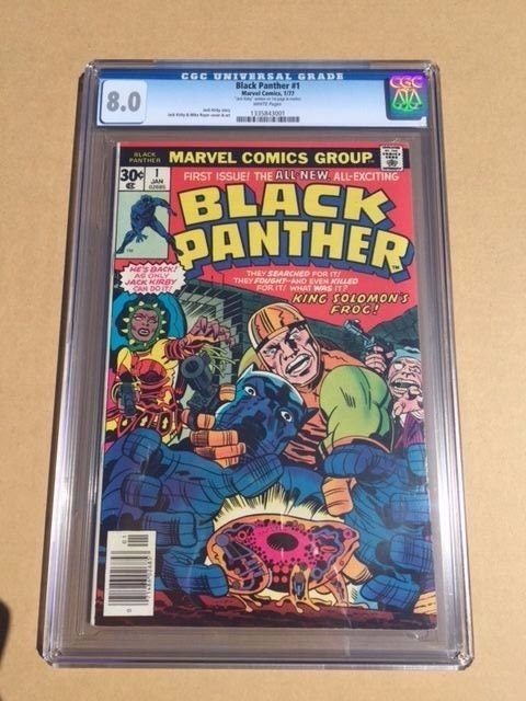 Black Panther Marvel Comic 1 signed by Jack Kirby CGC graded 80