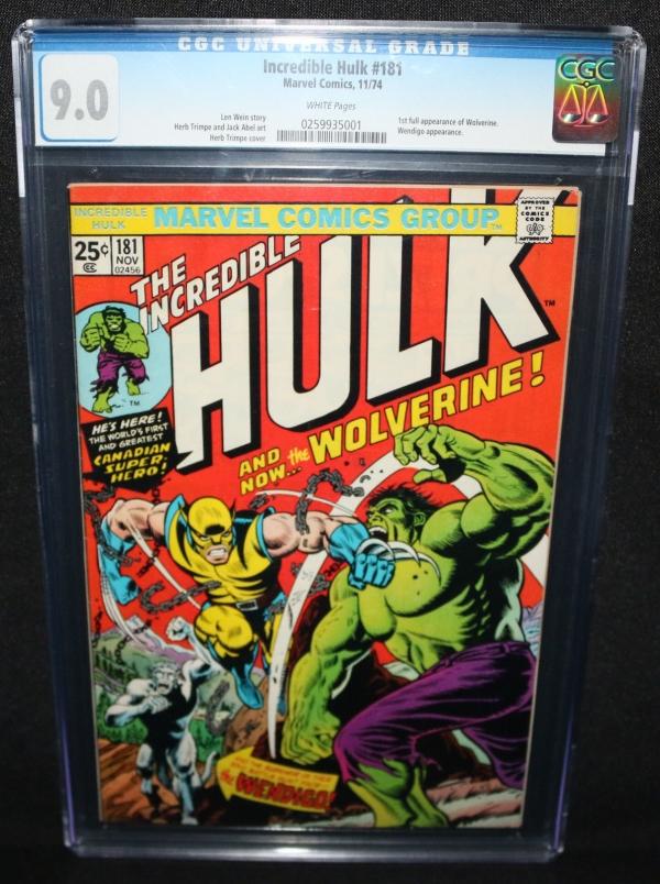 Incredible Hulk 181  1st Full Appearance of Wolverine  CGC Grade 90  1974