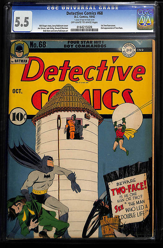 Detective Comics  68 1st TwoFace Cover  Oct 1942 Batman Key Issue CGC 55