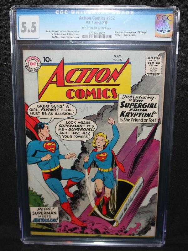 Action Comics 252  Origin  1st App of Supergirl  Metallo  CGC 55  1959