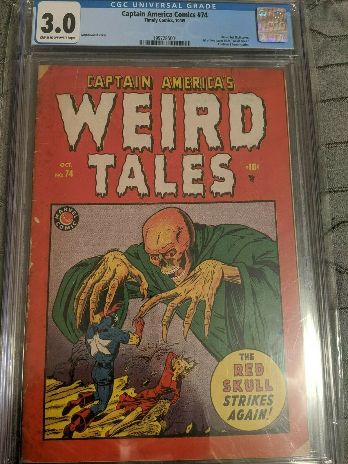 CAPTAIN AMERICA COMICS 74 CGC 30 SCARCE KEY RED SKULL CLASSIC HORROR COVER