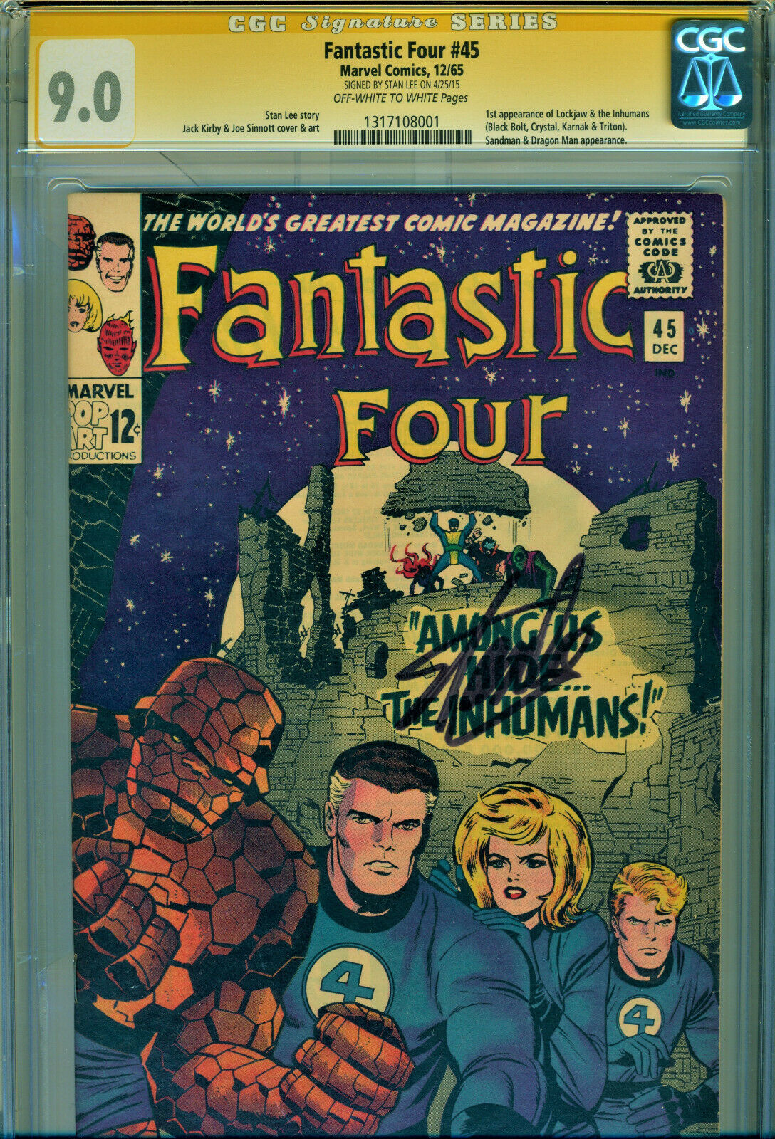 FANTASTIC FOUR 45 CGC 90 SS SIGNED BY STAN LEE 1ST APPEARANCE OF INHUMANS
