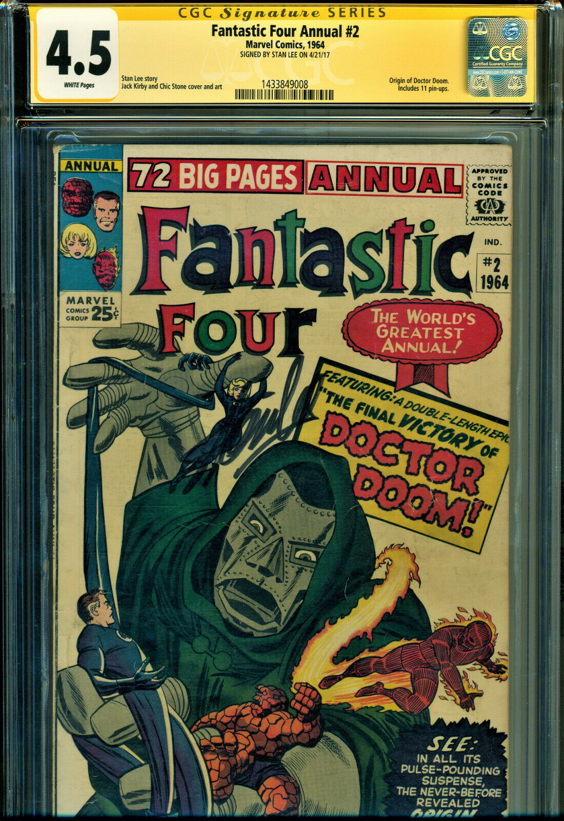 FANTASTIC FOUR ANNUAL 2 SS CGC 45 WPGS SIGNED BY STAN LEE ORIGIN OF DR DOOM
